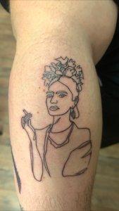Frida Kahlo Line Tattoo