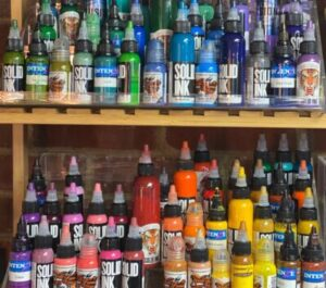 Display of high-quality tattoo inks we use in our shop